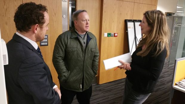 Former White House Press Secretary Sean Spicer in conversation with reporter Simon Carswell and deputy editor Deirdre Veldon in the Irish Times newsroom. Photograph: Frank Miller/The Irish Times