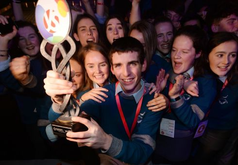 Simon Meehan from Colaiste Choilm, Cork, Winner of the BT Young Scientist & Technologist of the Year 2018 at the 2018 BT Young Scientist & Technology Exhibition at the RDS with his project an Investigation into the antimicrobial effects of both aerial and root parts of selected plants against Staphylococcus aureus, with fellow pupils from his school. Photograph: Alan Betson / The Irish Times