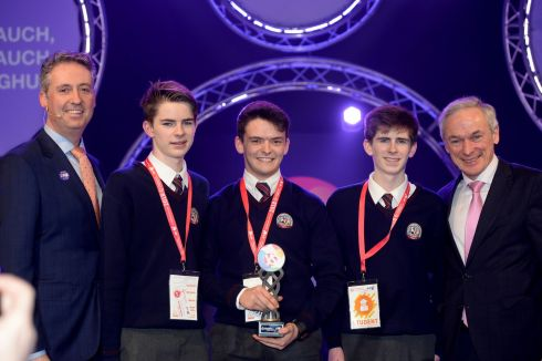 12/01/2018 - NEWS - Winner of the Best Group at the 2018 BT Young Scientist & Technology Exhibition at the RDS James Knoblauch, Oran O'Donoghue and Harry Knoblauch from Colaiste Bhreanainn, Kerry with their project an investigation into conformity and how minorities can influence it. Photograph: Alan Betson / The Irish Times