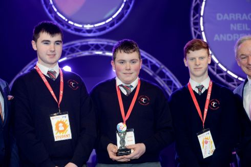 12/01/2018 - NEWS - Winner of the Runners up Group at the 2018 BT Young Scientist & Technology Exhibition at the RDS  Darragh Twomey, Neil O'Leary and Andrew Heffernan,from Colaiste Treasa Kanturk with their project Feeding 9.6 billion people by 2050.- The effects of Pseudomonas Fluorescens L321 on enhancing barley crop yield. Photograph: Alan Betson / The Irish Times