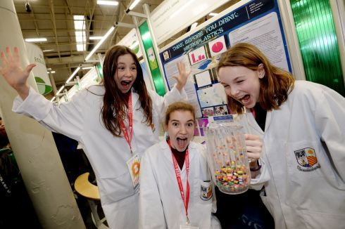 Ellie Concannon, Aoibhe Briscoe and Kate Owens from Coláiste Iognáid SJ, Galway with their project on microbeads and microplastics in water at the 2018 BT Young Scientist & Technology Exhibition at the RDS. Photograph: Alan Betson/The Irish Times