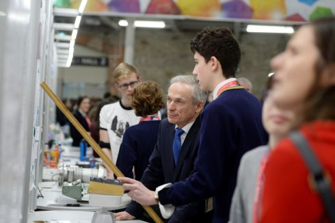 Michael Doyle, from St Fintan's High School, Dublin, explaining his project on Development of Theoretical Mathematical Models Regarding the Physics of Moment and Levers to Minister for Education Richard Bruton. Photograph: Alan Betson/The Irish Times