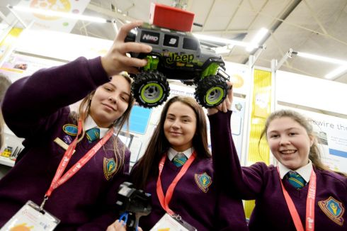 Beth O'Donnell, Keri Long and Rachel Murphy from Thomond Community College with their project Automatic Emergency Services Alerter. Photograph: Alan Betson/The Irish Times