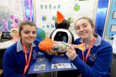 Isobel Byrne and Róisín Kelleher from Mount Sackville Secondary School, Dublin, with their project on a Deposit Refund Scheme for Bottles. Photograph: Alan Betson/The Irish Times