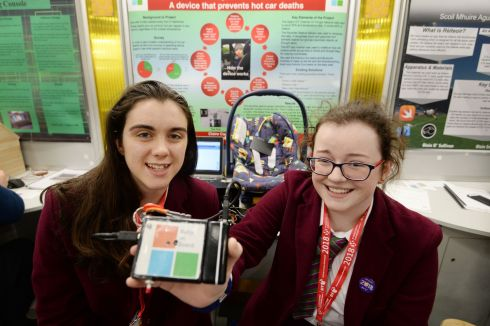 Ellen Murphy and Claire Cooney from Laurel Hill Secondary School FCJ Limerick with their project on a device that helps prevent hot car deaths from occurring. Photograph: Alan Betson/The Irish Times