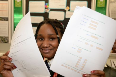 Medivic Bakanababo from Phobailscoil Iosolde, Dublin with her project on colour print versus black and white print during exams.