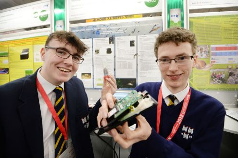 Dylan Bagnall and Richard Beattie from The King's Hospital, Dublin, with their project on identifying bats using a Raspberry Pi bat detector and PCR. Photograph: Alan Betson/The Irish Times