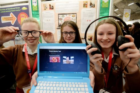 Margot Moore, Isabelle Kiely and Leah Clancy from Loreto College, Foxrock, with their project on visual memory, comparing teens, adults and their environments. Photograph: Alan Betson/The Irish Times