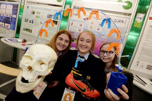 Colleen Booth, Nicole Allen O'Keeffe and Sarah Dwyer from Castlecomer Community School with their projects on gumshields and Gaelic football players. Photograph: Alan Betson/The Irish Times