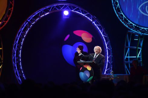 President Michael D Higgins, opens the BT Young Scientist & Technology exhibition, in the RDS. Photograph: Dara Mac Donaill/The Irish Times