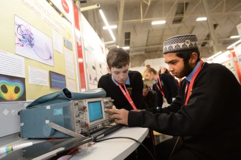 James McDonagh and Azmain Faiq, from Coláiste Phádraig, Lucan, Dublin with their project 'Can a Chua circuit really be used to produce random sequnces?'. Photograph: Dara Mac Donaill/The Irish Times