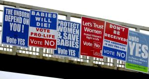 Abortion Referendum posters on a pedestrian bridge on the Stillorgan Road in 2002. Photograph: David Sleator