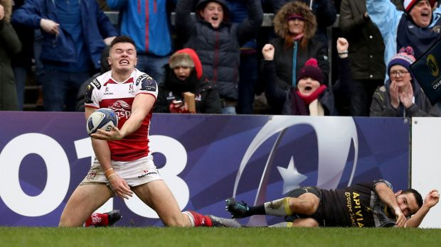 Jacob Stockdale celebrates his try in the first half. Photograph: Tommy Dickson/Inpho