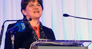 DUP leader Arlene Foster at the Killarney Economic Conference in Co Kerry. Photograph: Valerie O'Sullivan/PA Wire