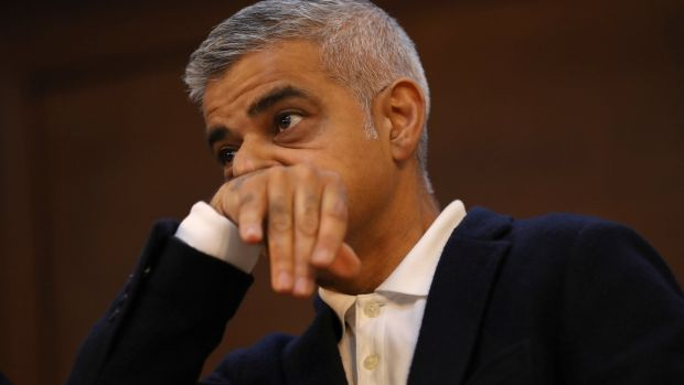 The Mayor of London, Sadiq Khan, pauses as he speaks at the Fabian Society New Year Conference, in central London. Photogrpah: Simon Dawson/Reuters