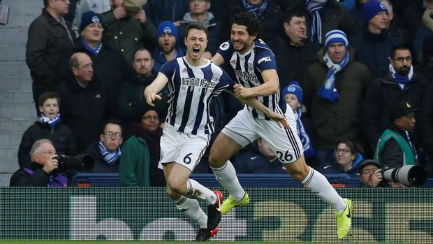 Jonny Evans gives West Brom the lead against Brighton. Photograph: Darren Staples/Reuters