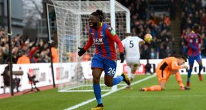 Crystal Palace's Bakary Sako celebrates scoring his side's early winner against Burnley. Photograph: Daniel Hambury/PA