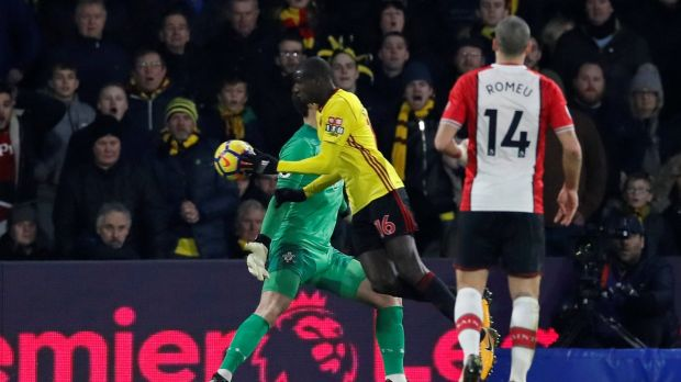 Abdoulaye Doucoure equalises for Watford against Southampton. Photograph: David Klein/Reuters