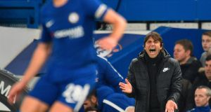 Antonio Conte during Chelsea's draw with Leicester City at Stamford Bridge. Photograph: Getty Images