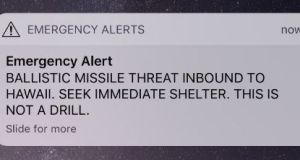 The message was sent in error to Hawaii residents' mobile phones. Source: Twitter