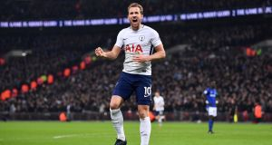 Harry Kane of Tottenham Hotspur celebrates his second goal against Everton. Photograph: Justin Setterfield/Getty Images)