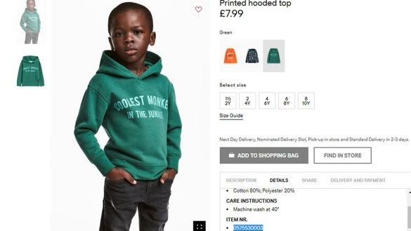 The advert for the hoodie, which was withdrawn by H&M. Photograph: H&M/PA