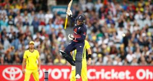 England batsman Jason Roy leaps in the air as he celebrates reaching his century during game  the first  One-Day International against  Australia  at the Melbourne Cricket Ground. Photograph: Scott Barbour/Getty Images