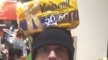Sinn Féin MP Barry McElduff bearing a Kingsmill-branded loaf on his head on the anniversary of the Kingsmill massacre. Photograph: Barry McElduff/Twitter/PA