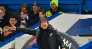 Chelsea coach Antonio Conte: his side endured their third successive goalless draw this weekend. Photograph:  Glyn Kirk/AFP/Getty Images