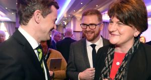 DUP leader Arlene Foster greets Kerry Senator Mark Daly who wishes to run for president at the Killarney Economic Conference. Photograph: Don MacMonagle