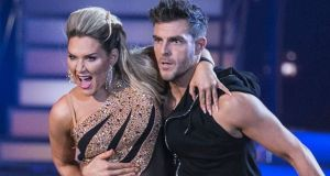 Erin McGregor and dance partner Ryan McShane performing on Dancing with the Stars. She scored the highest points of the series so far
