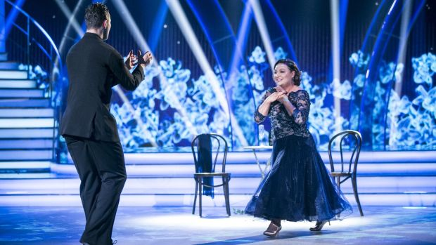Norah Casey during her foxtrot routine with Curtis Pritchard on Dancing with the Stars. Photograph: Kyran O'Brien/RTÉ
