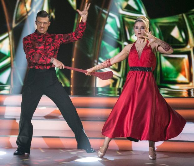 Anna Geary and Kai Widdrington dancing a tango to 'Rebel Rebel 'by David Bowie on Dancing with the Stars. Photograph: Kyran O'Brien/RTÉ