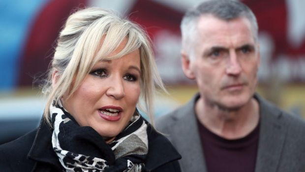 Michelle O'Neill and Declan Kearney speaking outside Sinn Féin's headquarters on the Falls Road, Belfast last week. Photograph: Niall Carson/PA Wire