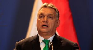 "Hungary's prime minister Viktor Orban. He has  instructed intelligence agencies to investigate a ""Soros empire"" that he claims threatens national interests. Photograph: Bernadett Szabo/Reuters"