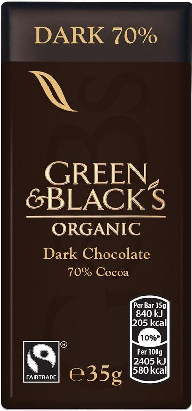 A bar of Green and Black's 70 per cent dark chocolate is almost 30% sugar