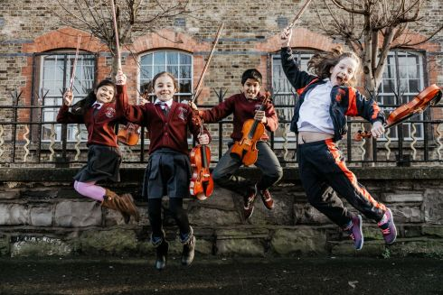 PUTTING THE SPRING IN STRINGS: Children from St Peter's National School String Orchestra preparing for their appearance at the Irish Association of Youth Orchestras' Annual Festival, which takes place in the National Concert Hall on February 10th. Photograph: Brid O'Donovan