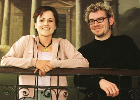 Dolores O'Riordan and Cranberries drummer Fergal Lawler at the Merrion Hotel in Dublin in February 2000 to announce the band's first gig in four years. Photograph: Collins