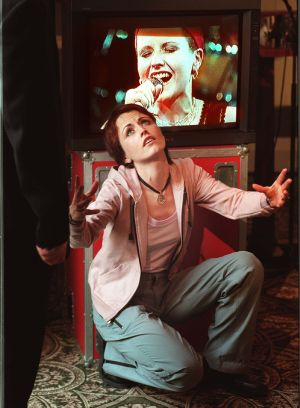 Dolores O'Riordan at a news briefing in Dublin in 2000 to announce the Cranberries' participation in the Heineken Green Energy Festival. Photograph: Matt Kavanagh