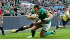 Tommy Bowe scores Ireland's fourth try during the Rugby World Cup game against Romania at Wembley Stadium in September 2015. Photograph: Dan Sheridan/Inpho