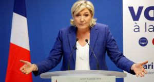 "Marine Le Pen: said France was ""a society where the law of armed thugs reigns"". Photograph: Charles Platiau/Reuters"