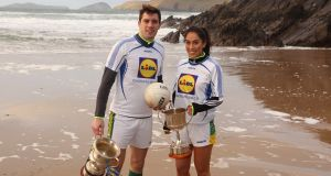David Moran and Kerry women's captain Aislinn Desmond at the launch of the Lidl Comórtas Peile Páidí Ó Sé club tournament.
