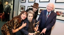 President Higgins presents Shane McGowan with lifetime achievement award