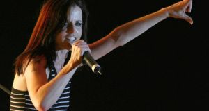 Singer Dolores O'Riordan performing on stage during a concert in Tirana on June 20th, 2007. Photograph: Arben Celi/ Reuters