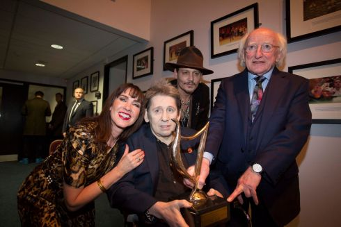L-R: Victoria Mary Clarke , Shane MacGowan, Johnny Depp and President Michael D Higgins. Photograph: Tom Honan