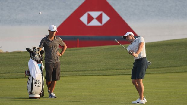 Rory McIlroy during a practice round ahead of Abu Dhabi HSBC Golf Championship. Photograph: Matthew Lewis/Getty Images
