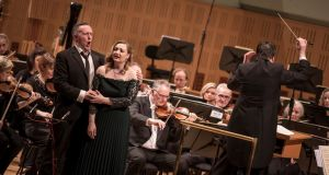 Gavan Ring, Jennifer Davis, Fergus Sheil, performing with the RTÉNSO.  Photograph: Ste Murray