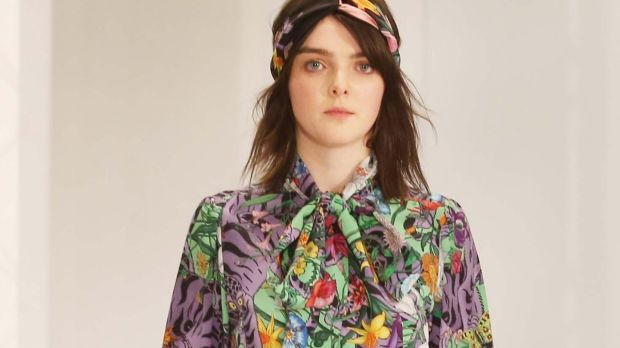 NO REPRO FEE 16/01/2018 Brown Thomas Spring Summer 2018. Pictured in Brown Thomas on Grafton Street today, a model shows the latest look from Gucci on the catwalk. Photograph: Leon Farrell / Photocall IrelandWild floral prints from Gucci