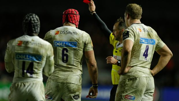 James Haskell of Wasps is shown a red card at the Stoop. Photograph: Henry Browne/Getty Images