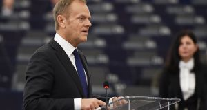 European Council president Donald Tusk speaks during a debate at the European Parliament in Strasbourg,  on Tuesday. Photograph:  AFP